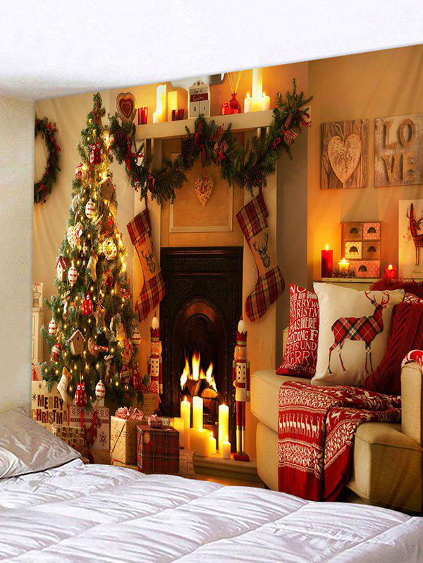 Affordable Christmas Tree Fireplace Printed Tapestry Wall Hanging Art Decor