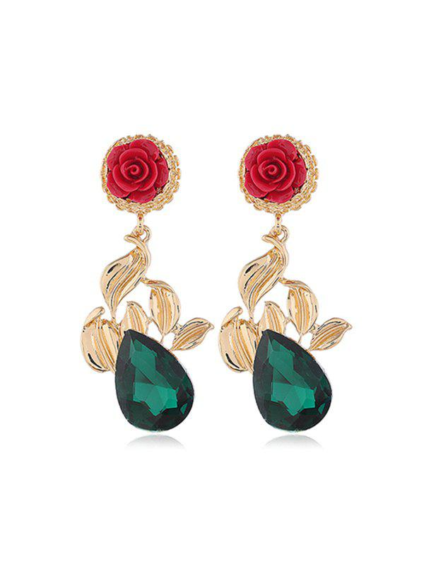 Buy Rose Flower Leaf Teardrop Rhinestone Earrings