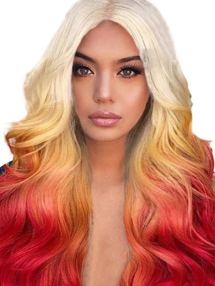 New Long Center Part Ombre Body Wave Synthetic Wig