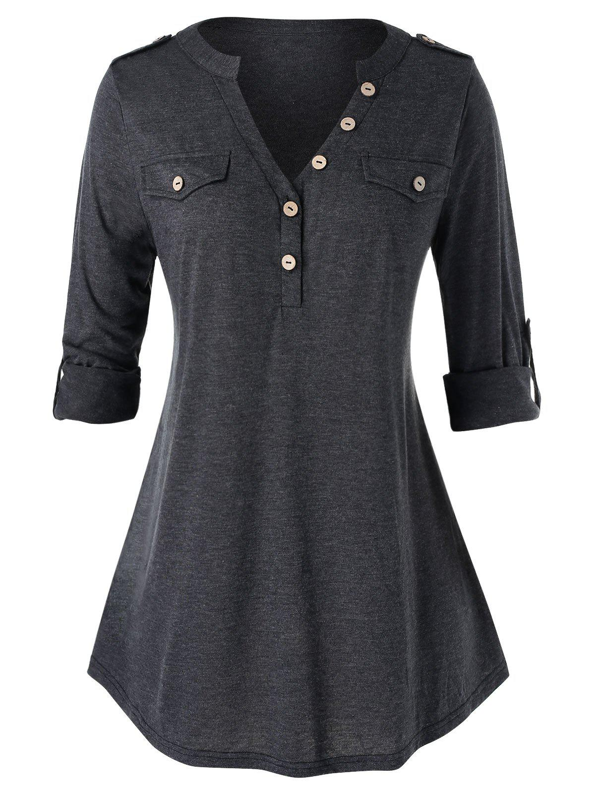 Hot Plus Size Buttons Roll Up Sleeve Heathered T Shirt