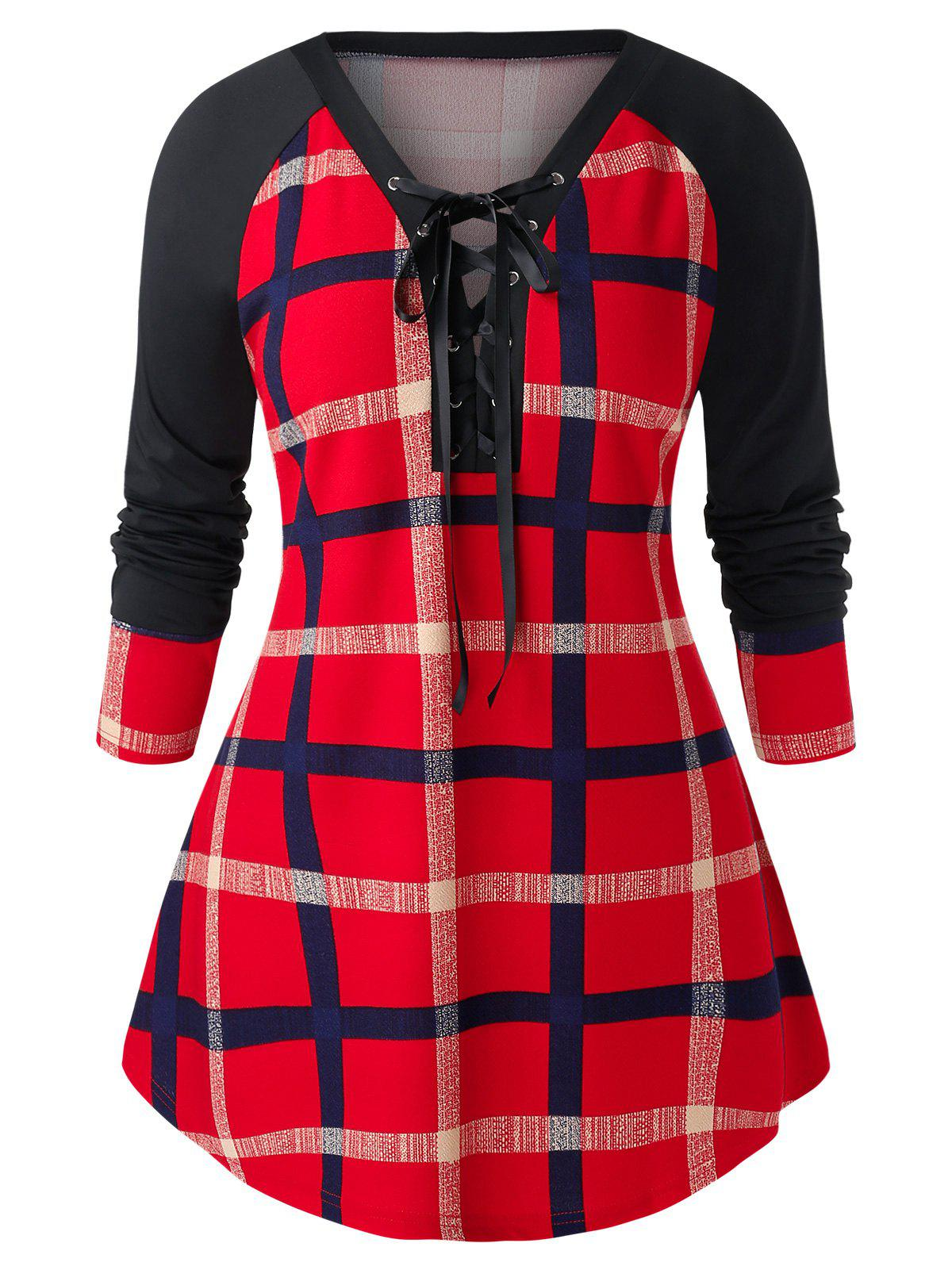 Unique Plus Size Raglan Sleeve Checked Tunic Sweatshirt