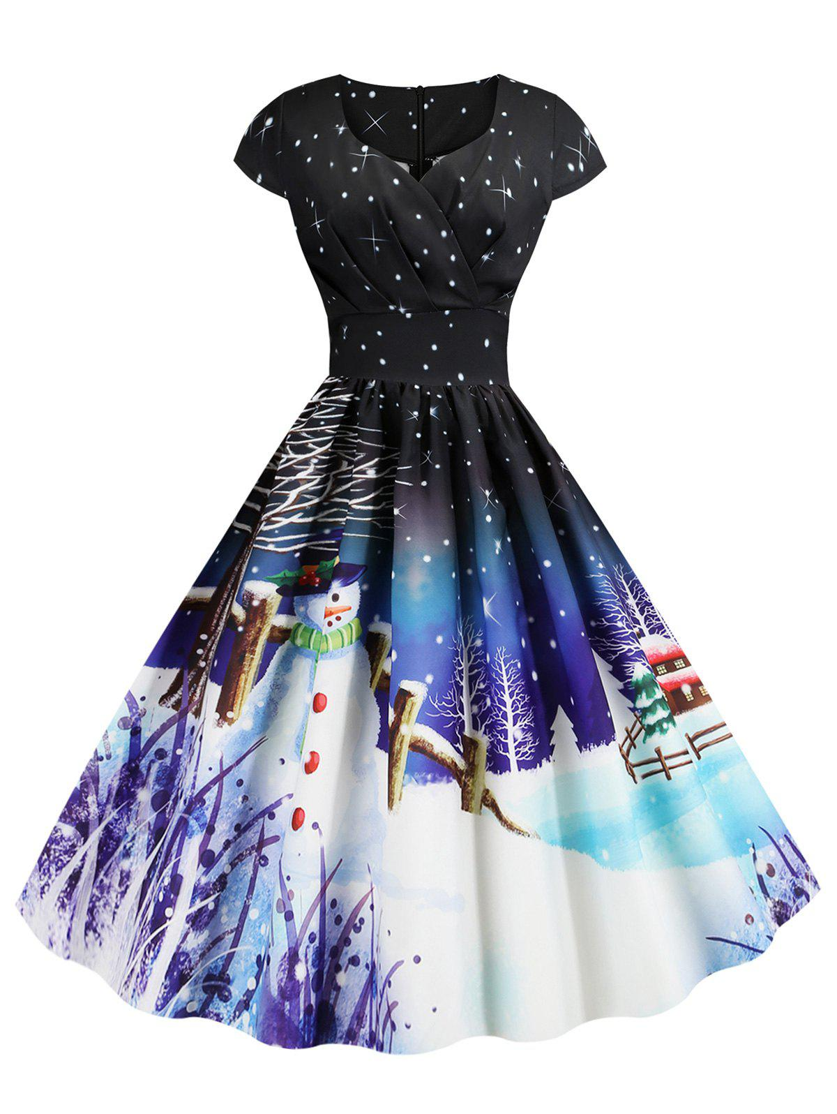 Fashion Pleated Christmas Santa Claus Elk Snowman Print Surplice Dress