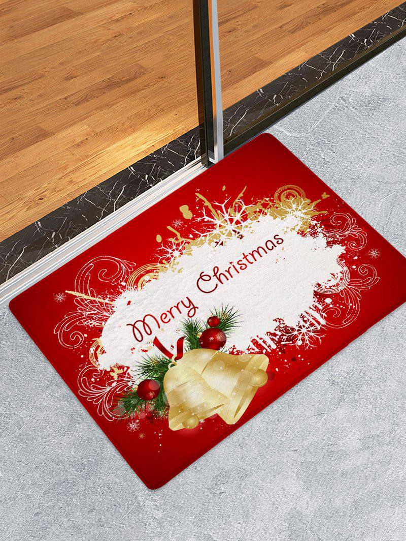 Unique Christmas Bells Greetings Pattern Water Absorption Area Rug