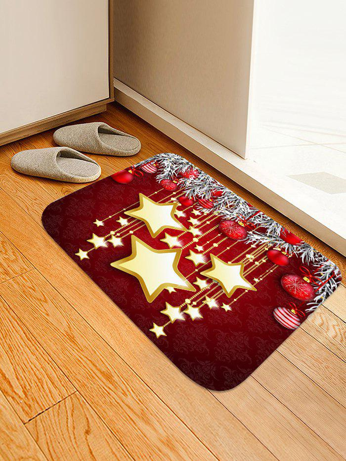 New Christmas Balls and Stars Pattern Water Absorption Area Rug
