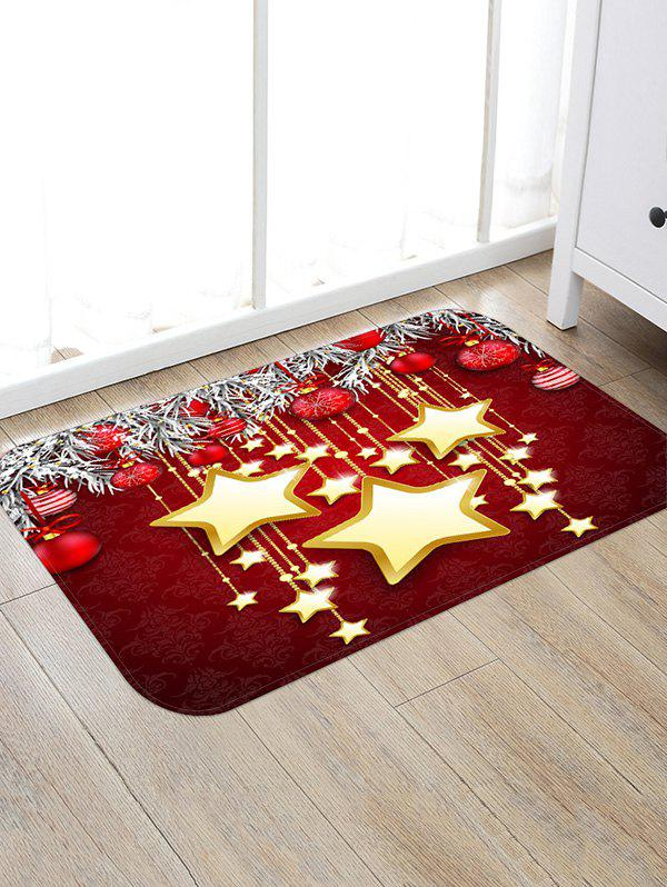 Affordable Christmas Balls and Stars Pattern Water Absorption Area Rug