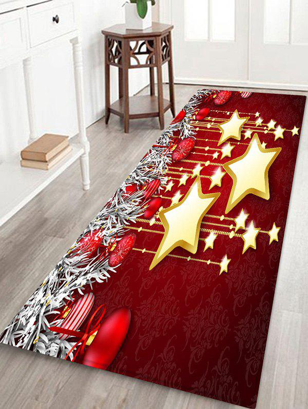 Online Christmas Balls and Stars Pattern Water Absorption Area Rug