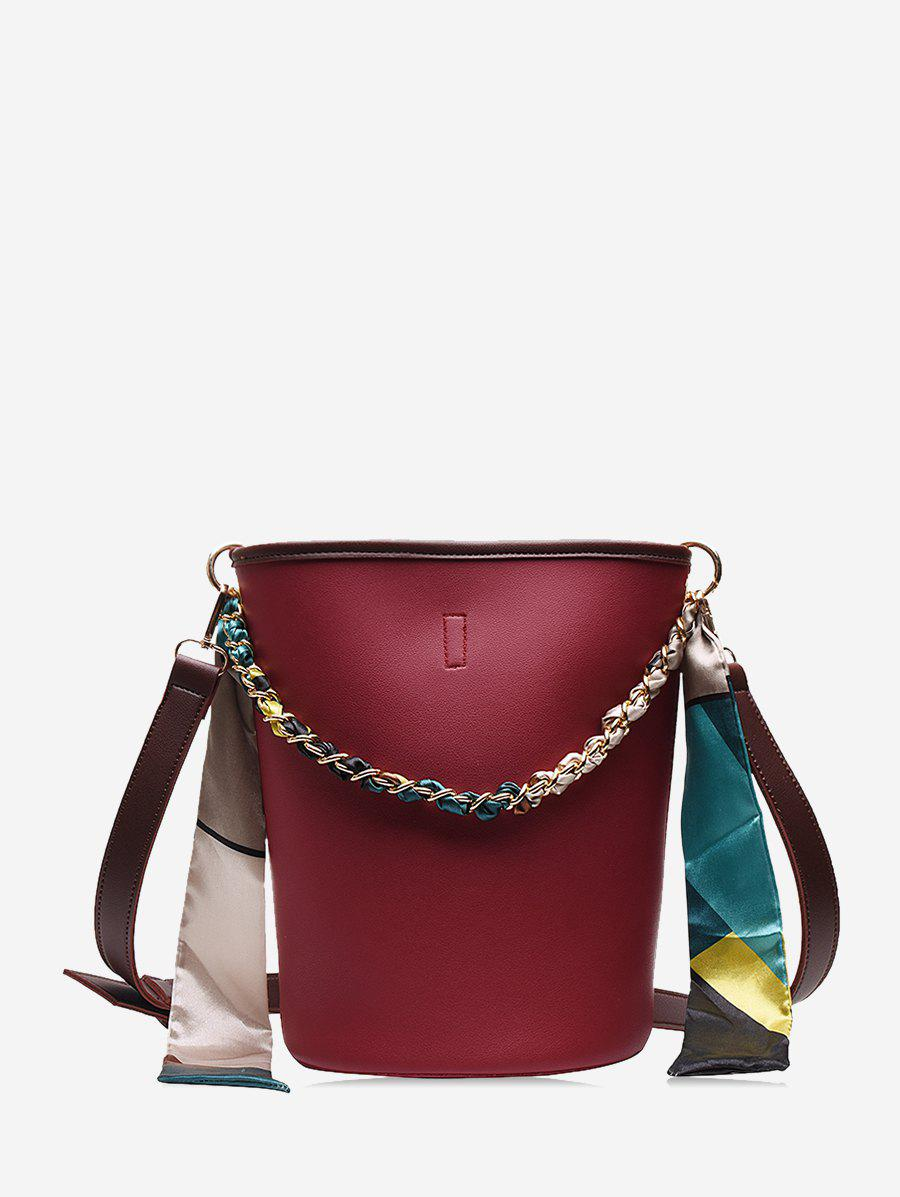 Unique Silk Embellished Crossbody Bucket Bag