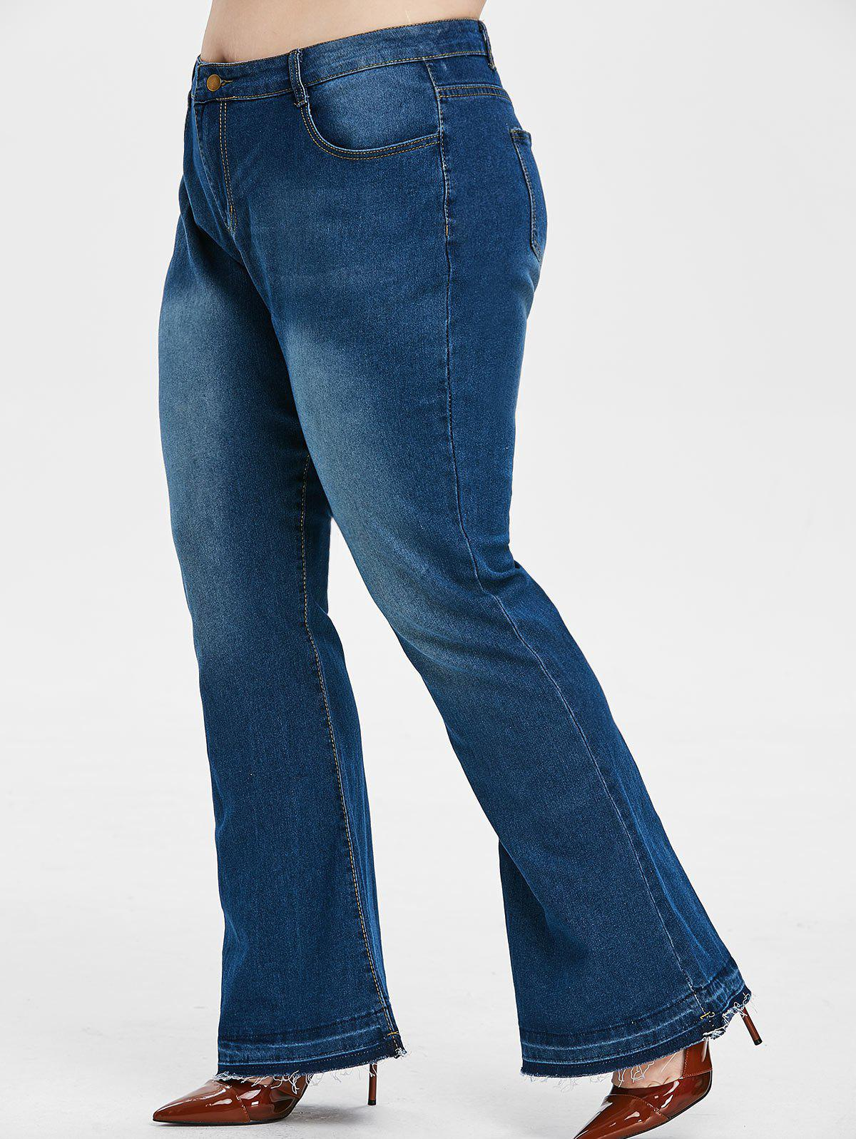 Trendy Mid Rise Frayed Hem Plus Size Flare Jeans