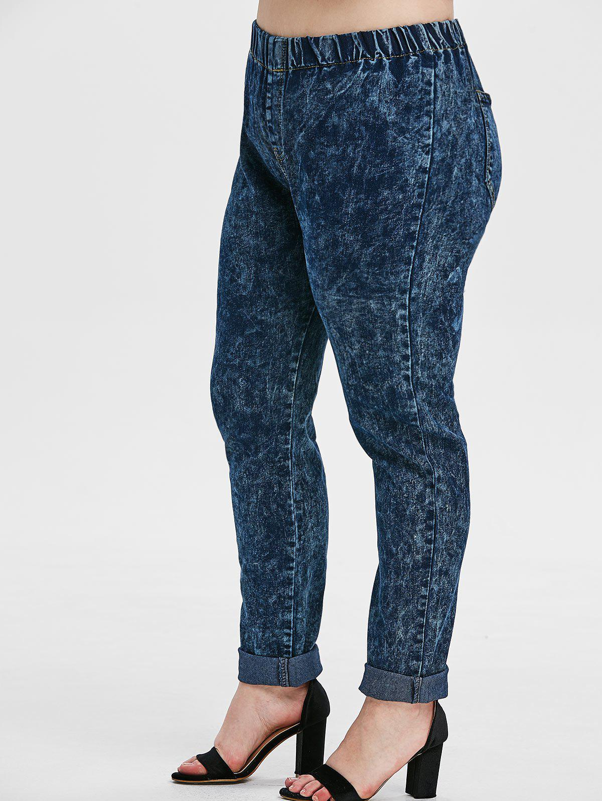 Unique High Waisted Snow Wash Back Pockets Plus Size Skinny Jeans