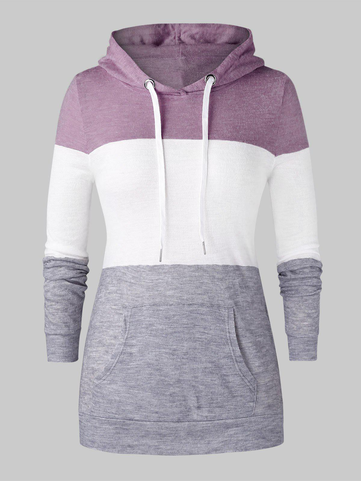 Sale Plus Size Color-blocking Kangaroo Pocket Drawstring Knit Hoodie
