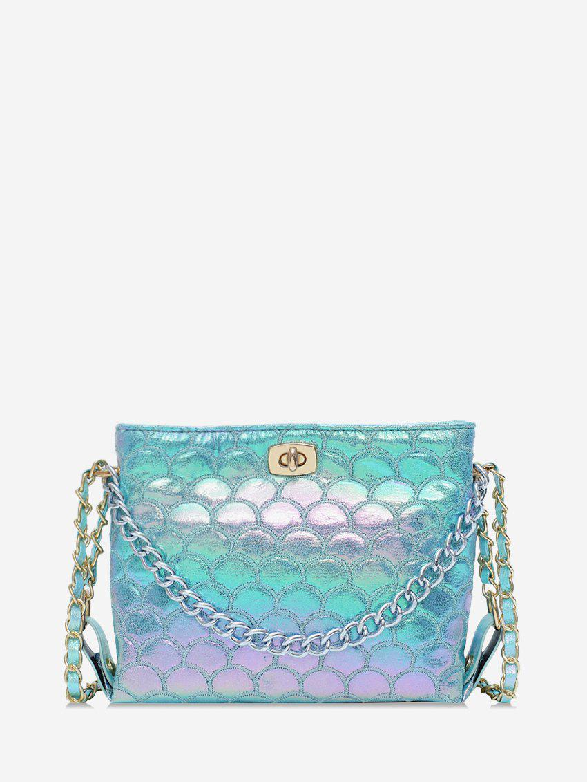 Unique Mermaid Embroidery Chain Embellished Crossbody Bag
