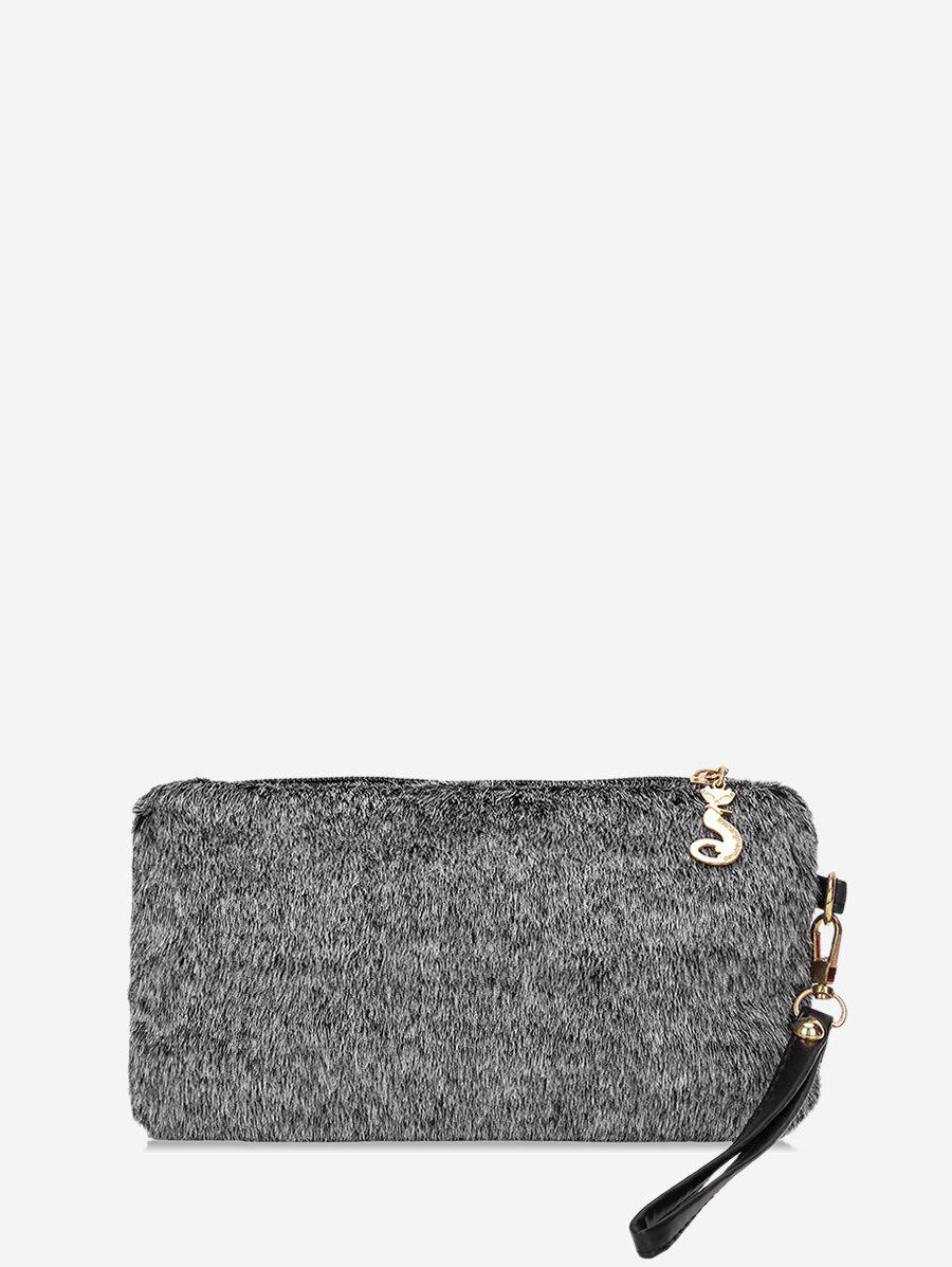 Store Plain Faux Fur Wrist Clutch Bag