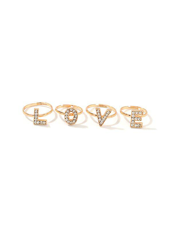 Fashion 4Pcs Letter Rhinestone Adjustable Open Rings Set