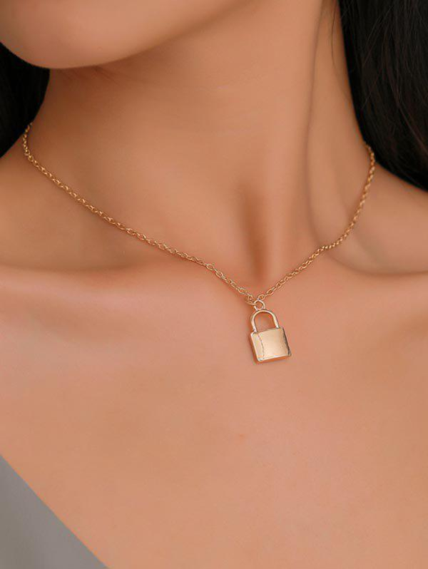 Online Brief Copper Lock Pendant Necklace