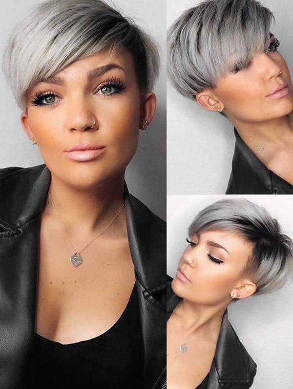 Trendy Ombre Synthetic Short Straight Side Part Wig