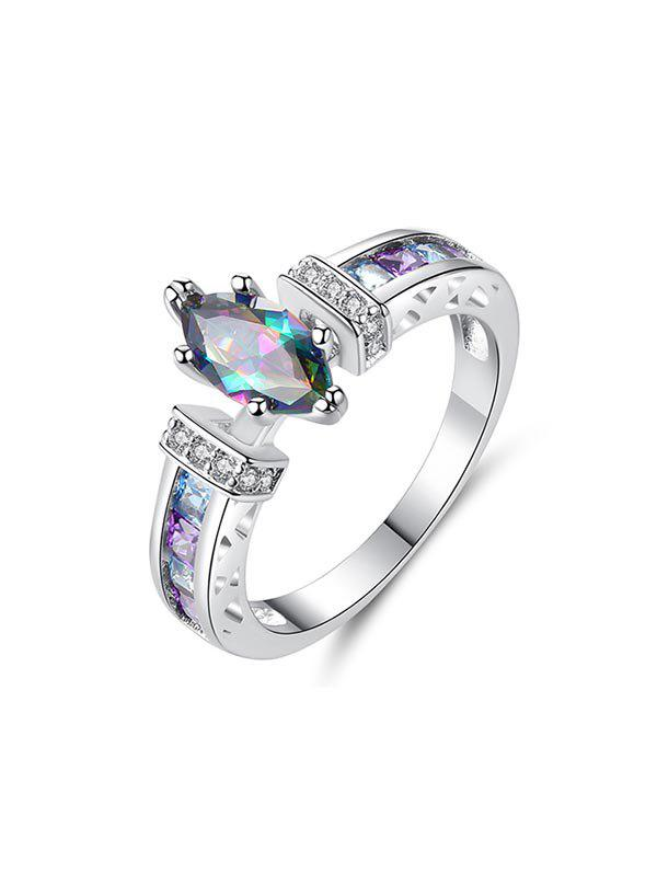Trendy Colored Zircon Hollow Engagement Ring