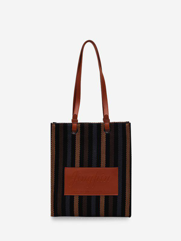 Discount Retro Vertical Striped Canvas Shoulder Bag