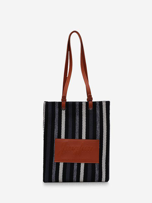 Outfits Retro Vertical Striped Canvas Shoulder Bag