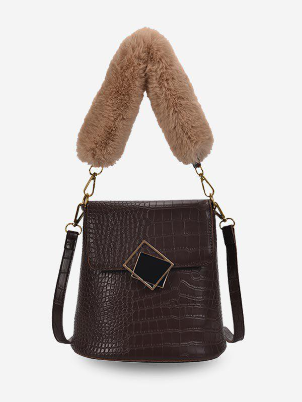 New Plush Handle Animal Embossed Bucket Crossbody Bag