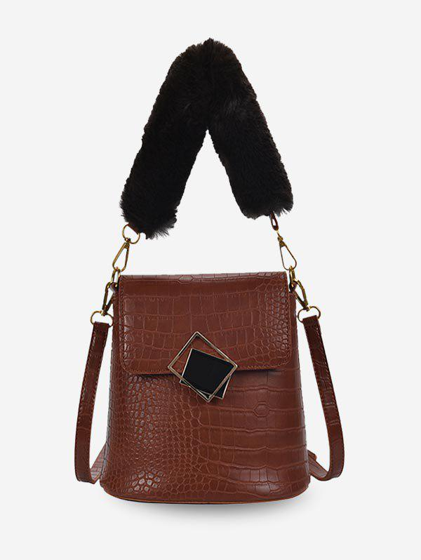 Trendy Plush Handle Animal Embossed Bucket Crossbody Bag