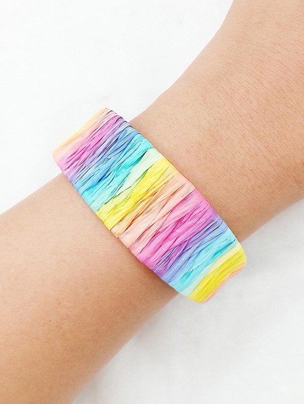 Outfits Colorful Woven Straw Wide Open Bangle