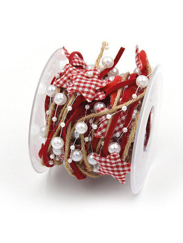 Affordable Christmas Tree Decoration 5 Meters Plaid Print Stars and Faux Pearls Embellished Rope