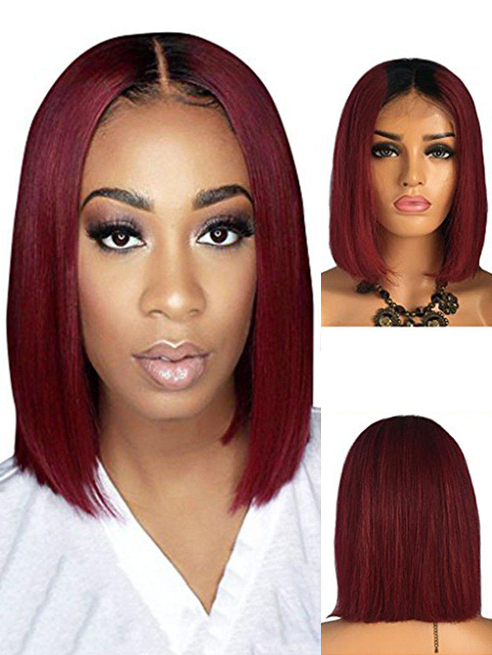 Cheap Bob Straight Center Part Ombre Human Hair Wig