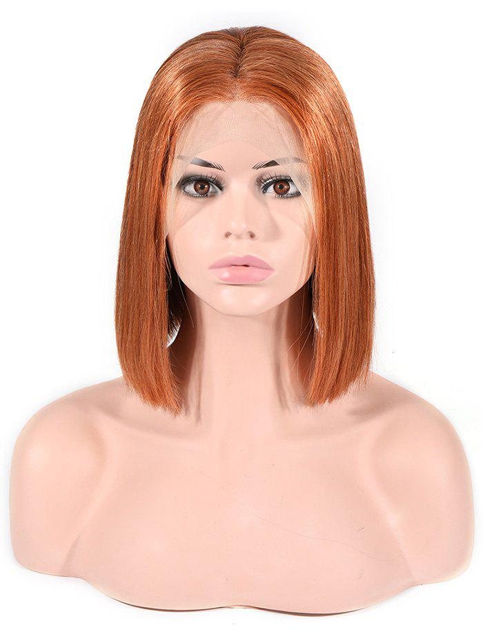Fashion Bob Straight Center Part Ombre Human Hair Wig
