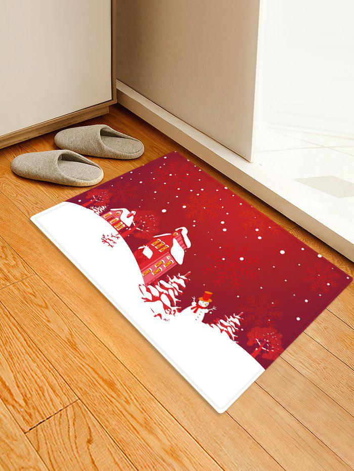Affordable Christmas Tree Snowflake House Pattern Water Absorption Area Rug