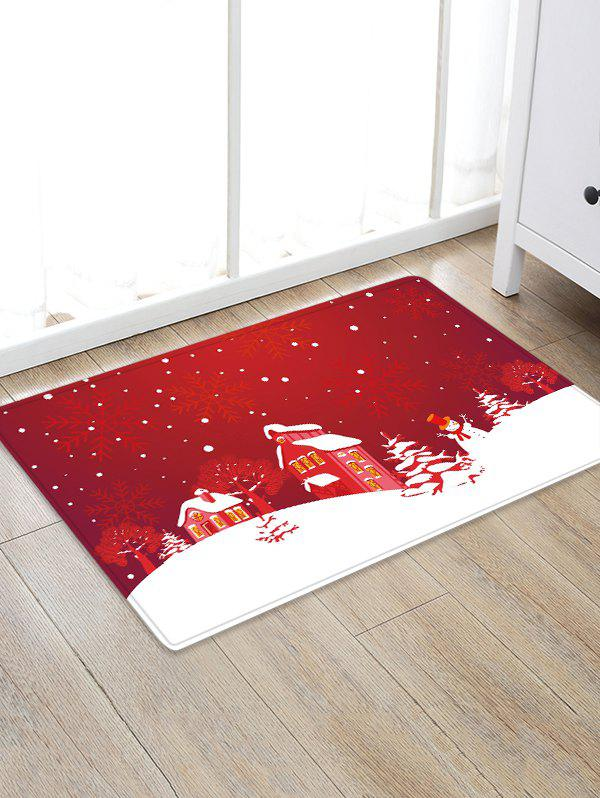 Latest Christmas Tree Snowflake House Pattern Water Absorption Area Rug