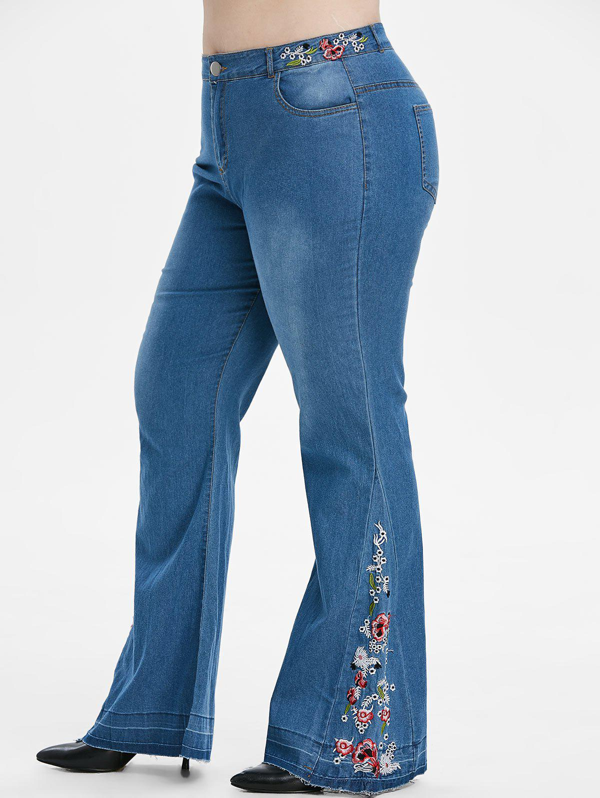 Online Plus Size Embroidered Flare Jeans