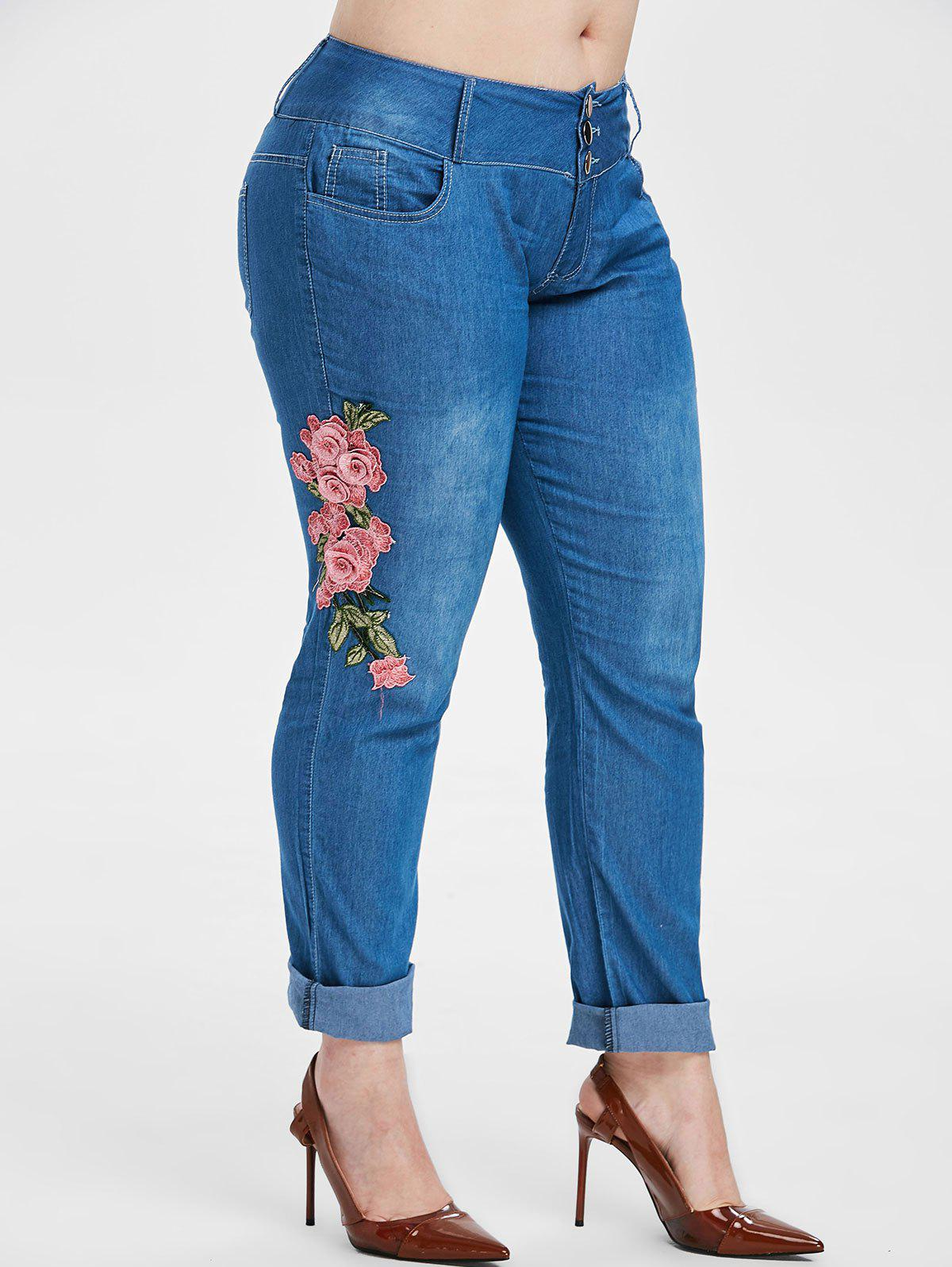 Sale Plus Size Chambray Embroidered Pants