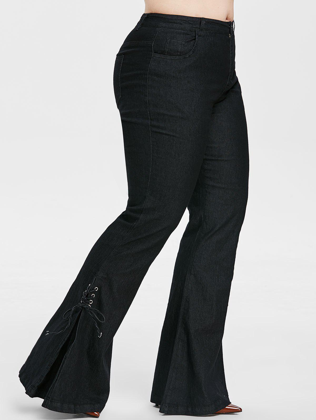 Fancy Plus Size High Rise Lace Up Flare Jeans