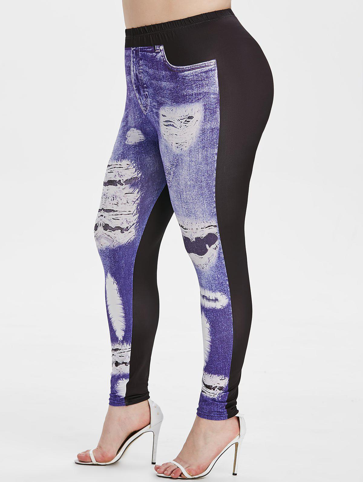 Shop Plus Size 3D Ripped Print Skinny Jeggings
