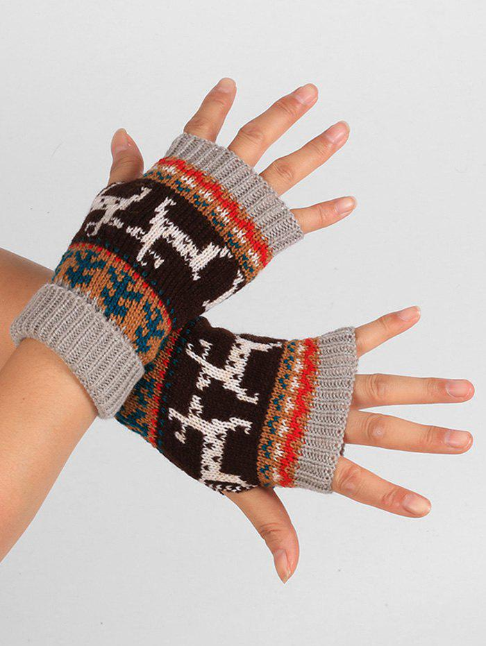 Outfits Deer Christmas Knitted Fingerless Gloves
