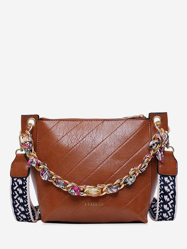 Discount Slant Quilted Chain Embellished Bucket Bag