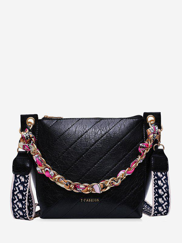 Fancy Slant Quilted Chain Embellished Bucket Bag