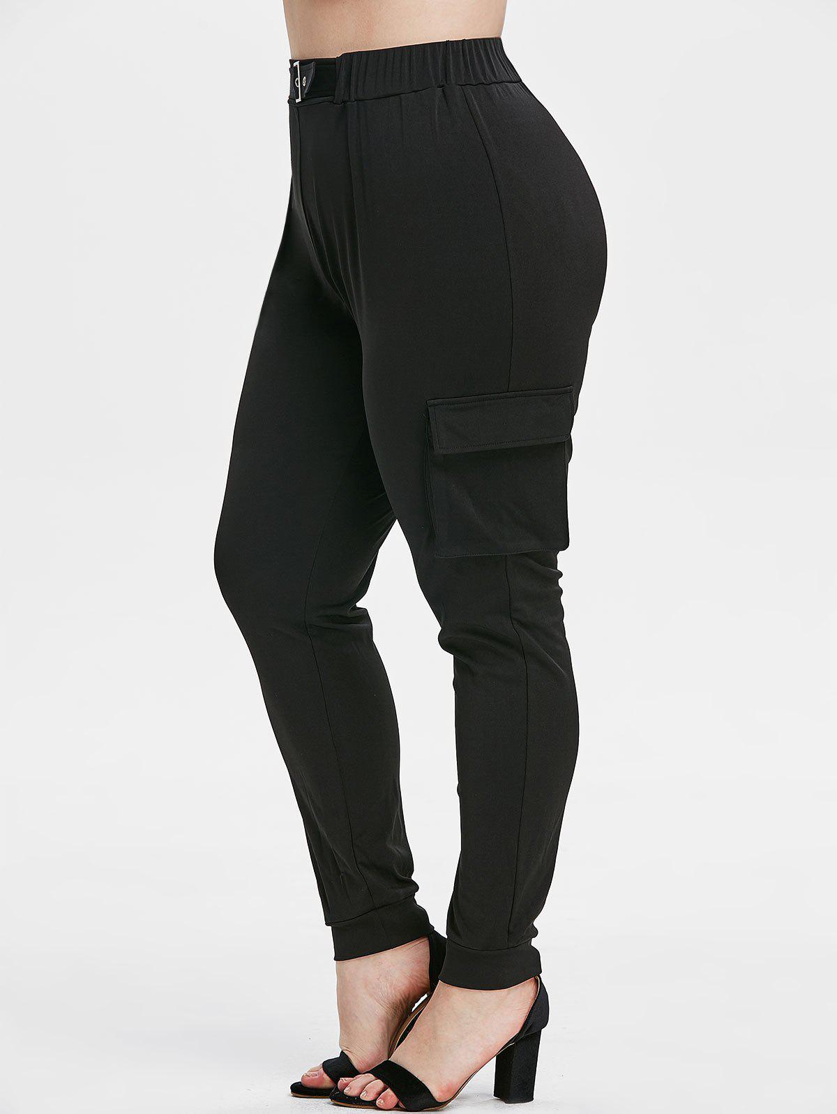 Fancy Plus Size Side Pockets Buckle Pants