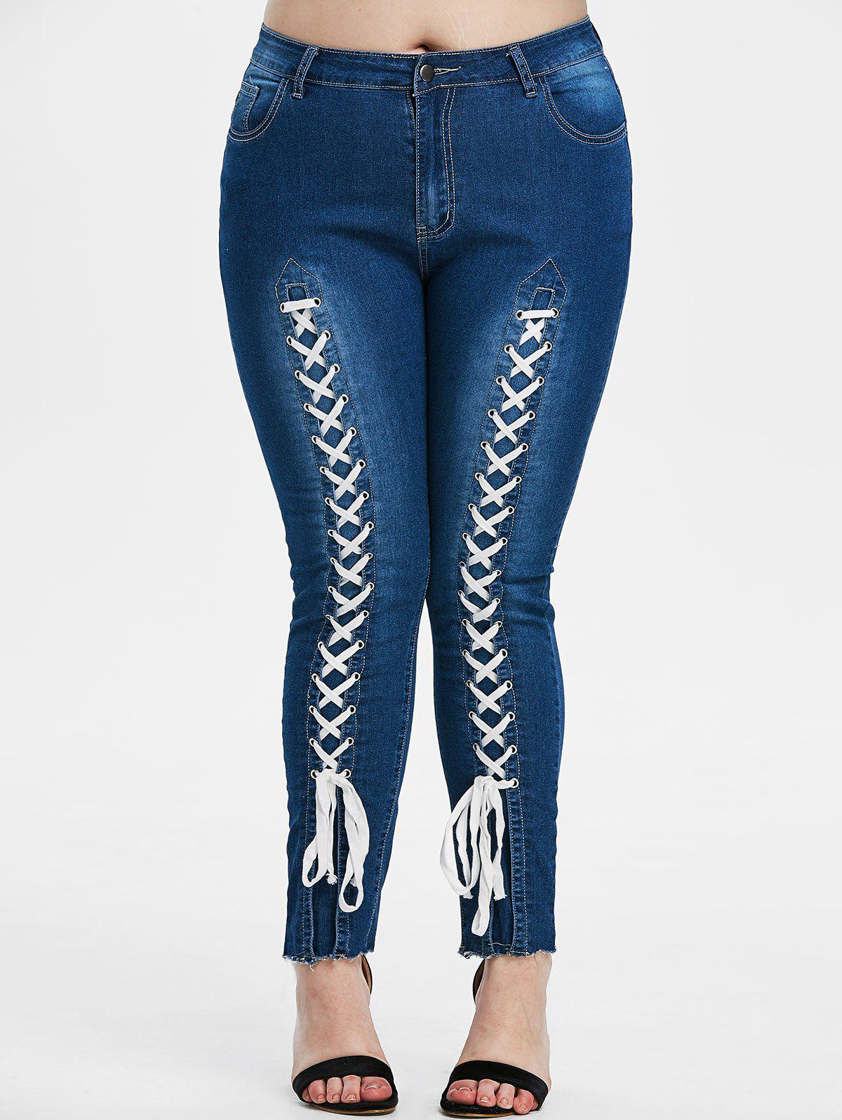 Outfits Plus Size Lace-up Front High Waisted Tapered Jeans