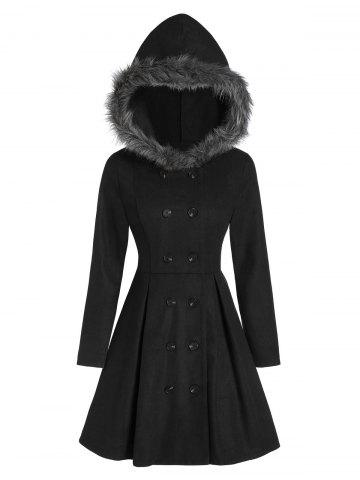 Double Breasted Fur Hooded Coat - BLACK - L