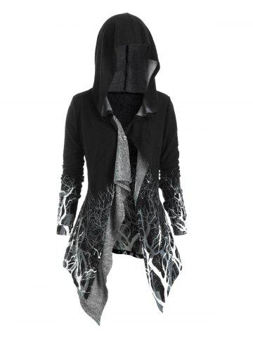 Tree Print Hooded Longline Cardigan