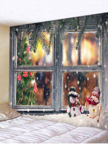 3d Digital Print Christmas Tree Snow Window Tapestry