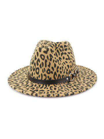 Leopard Pattern Flat Brim Winter Jazz Hat