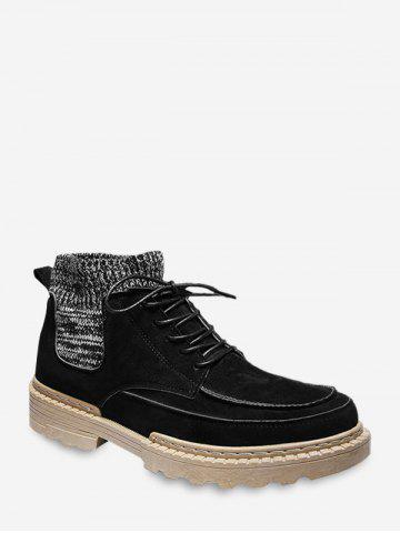 Faux Suede Patch Sock Cargo Boots
