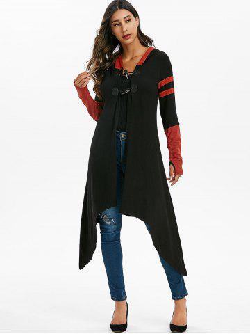 Contrast Striped Horn Button Hooded Cardigan