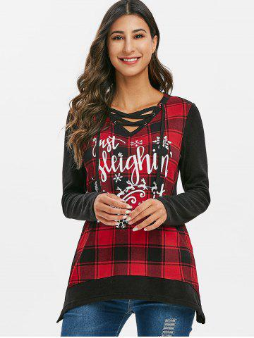 Christmas Elk Plaid Lace Up Longline Knitwear