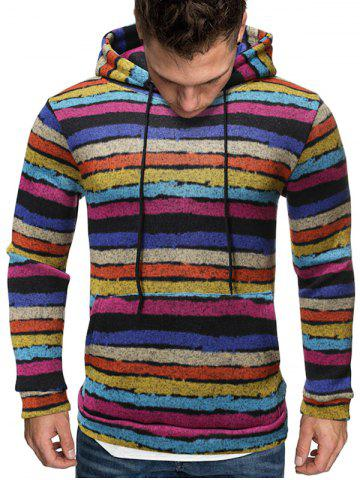 Vintage Colorful Striped Pattern Casual Hoodie