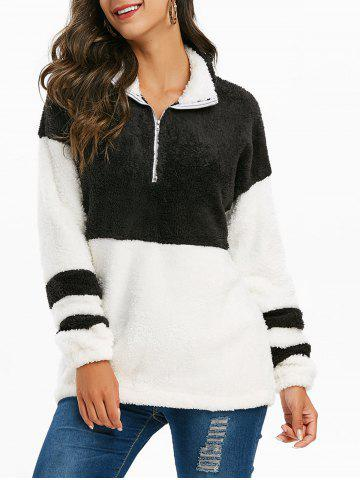 Sweat-shirt Long Demi-Zip à Goutte Epaule en Fausse Fourrure - BLACK - S