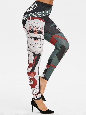 High Rise Christmas Printed Skinny Leggings - BLACK - M