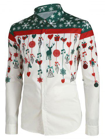 Christmas Cartoon Decorations Print Button Up Shirt